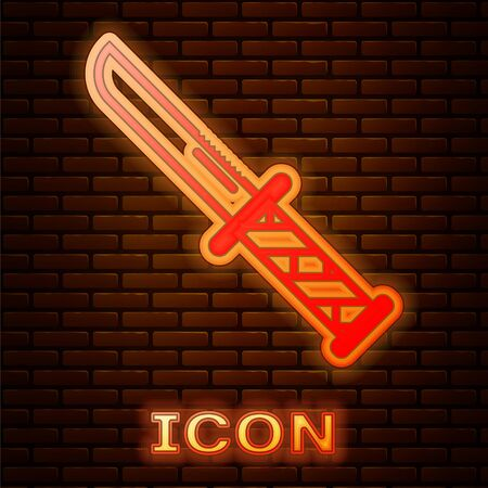 Glowing neon Military knife icon isolated on brick wall background. Vector Illustration