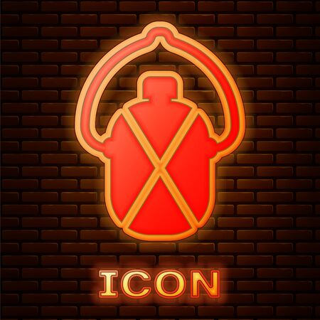 Glowing neon Canteen water bottle icon isolated on brick wall background. Tourist flask icon. Jar of water use in the campaign. Vector Illustration Ilustração