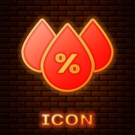 Glowing neon Water drop percentage icon isolated on brick wall background. Humidity analysis. Vector Illustration