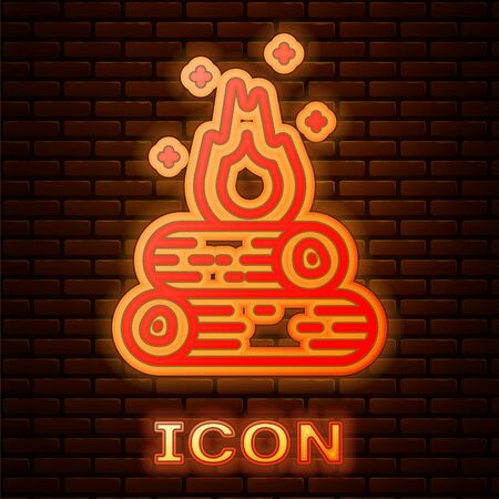 Glowing neon Campfire icon isolated on brick wall background. Burning bonfire with wood. Vector Illustration Illusztráció