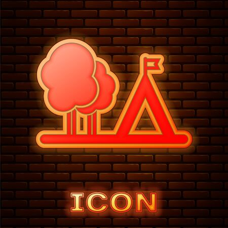Glowing neon Tourist tent with flag icon isolated on brick wall background. Camping symbol. Vector Illustration