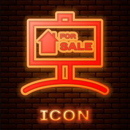 Glowing neon Hanging sign with text For Sale icon isolated on brick wall background. Signboard with text For Sale. Vector Illustration