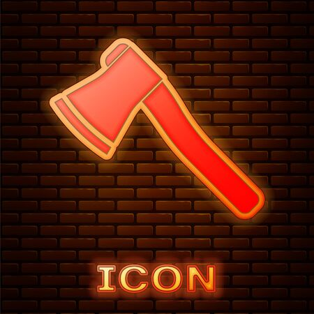 Glowing neon Wooden axe icon isolated on brick wall background. Lumberjack axe. Vector Illustration Ilustração