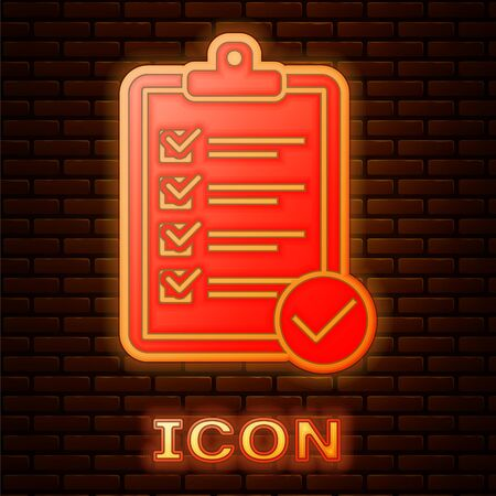 Glowing neon Verification of delivery list clipboard and pen icon isolated on brick wall background. Vector Illustration