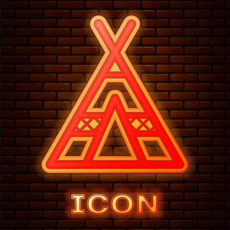 Glowing neon Tourist tent icon isolated on brick wall background. Camping symbol. Vector Illustration