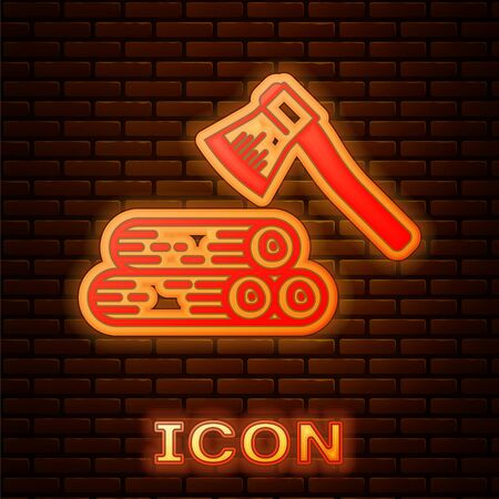 Glowing neon Wooden axe and wood icon isolated on brick wall background. Lumberjack axe. Vector Illustration Ilustração