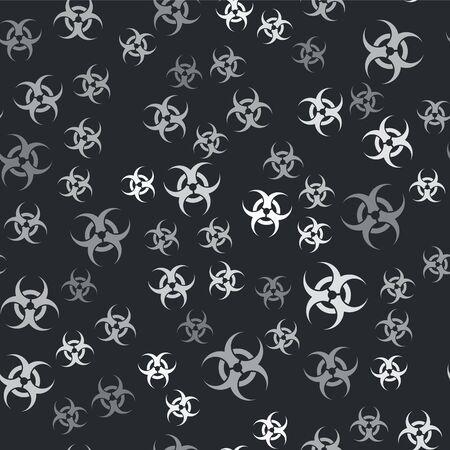 Grey Biohazard symbol icon isolated seamless pattern on black background. Vector Illustration