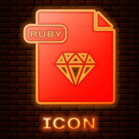 Glowing neon RUBY file document. Download ruby button icon isolated on brick wall background. RUBY file symbol. Vector Illustration Stock Vector - 135357339