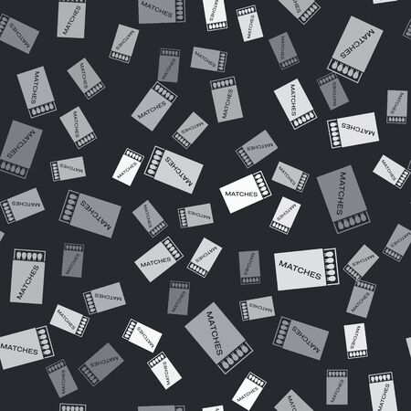 Grey Open matchbox and matches icon isolated seamless pattern on black background. Vector Illustration