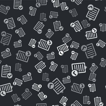 Grey Verification of delivery list clipboard and pen icon isolated seamless pattern on black background. Vector Illustration