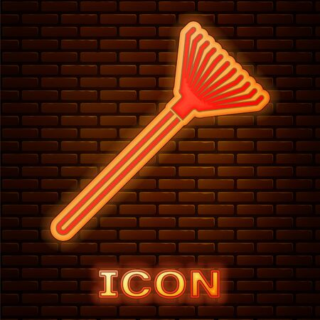 Glowing neon Garden rake for leaves icon isolated on brick wall background. Tool for horticulture, agriculture, farming. Ground cultivator. Vector Illustration