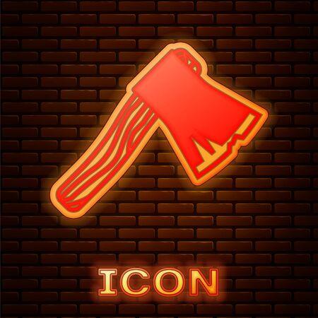 Glowing neon Old wooden axe icon isolated on brick wall background. Lumberjack axe. Vector Illustration