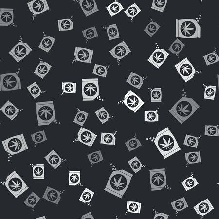 Grey Marijuana or cannabis seeds in a bag icon isolated seamless pattern on black background. Hemp symbol. The process of planting marijuana. Vector Illustration