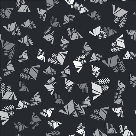 Grey Tourist tent icon isolated seamless pattern on black background. Camping symbol. Vector Illustration Illusztráció