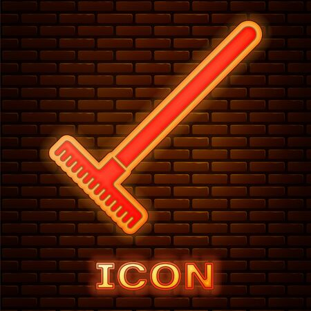 Glowing neon Garden rake icon isolated on brick wall background. Tool for horticulture, agriculture, farming. Ground cultivator. Housekeeping equipment. Vector Illustration