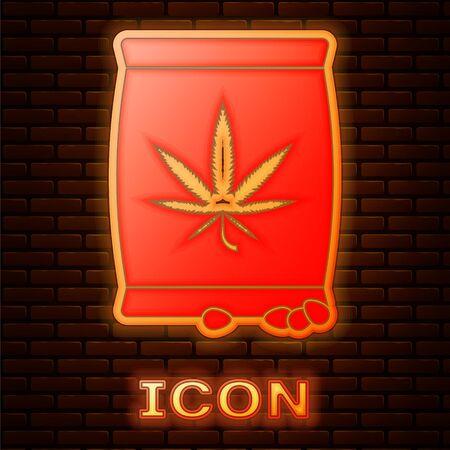 Glowing neon Marijuana or cannabis seeds in a bag icon isolated on brick wall background. Hemp symbol. The process of planting marijuana. Vector Illustration