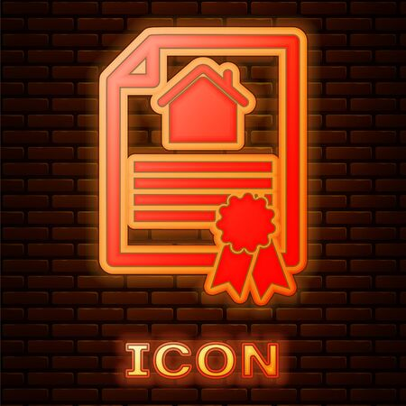 Glowing neon House contract icon isolated on brick wall background. Contract creation service, document formation, application form composition. Vector Illustration