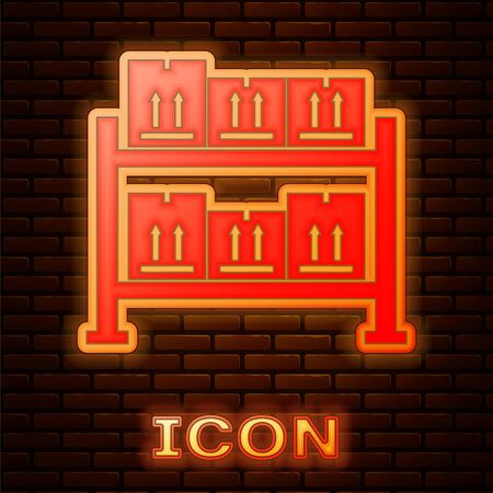 Glowing neon Warehouse icon isolated on brick wall background. Vector Illustration