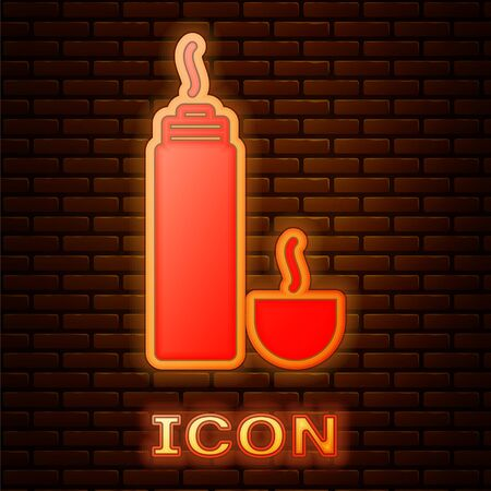 Glowing neon Thermo container icon isolated on brick wall background. Thermo flask icon. Camping and hiking equipment. Vector Illustration Illustration