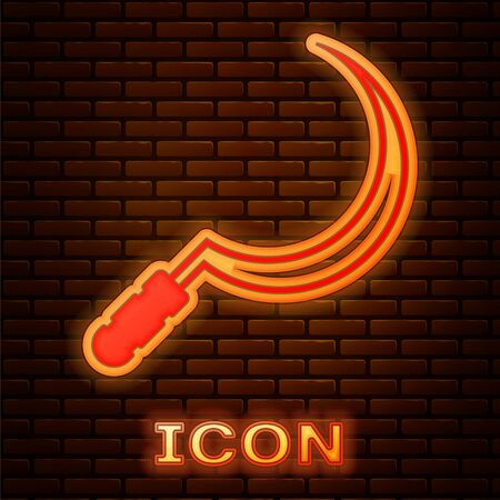 Glowing neon Sickle icon isolated on brick wall background. Reaping hook sign. Vector Illustration