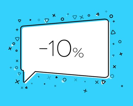 Geometric Sale banner with inscription Ten percent discount on blue background. Template for speech bubble, banner, sticker, price tag, badge, poster. Vector illustration