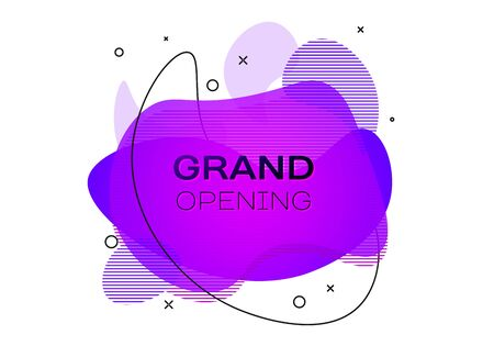 Geometric banner with inscription Grand opening on white background. Gradient abstract banner with flowing liquid shapes. Fluid color banner. Vector illustration  イラスト・ベクター素材