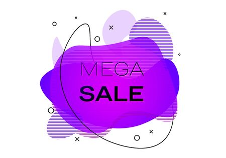 Geometric banner with inscription Mega sale on white background. Gradient abstract banner with flowing liquid shapes. Fluid color banner. Vector illustration