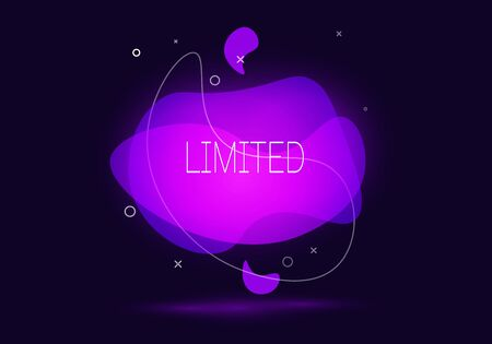 Geometric banner with inscription Limited on dark blue background. Gradient abstract banner with flowing liquid shapes. Fluid color banner. Vector illustration
