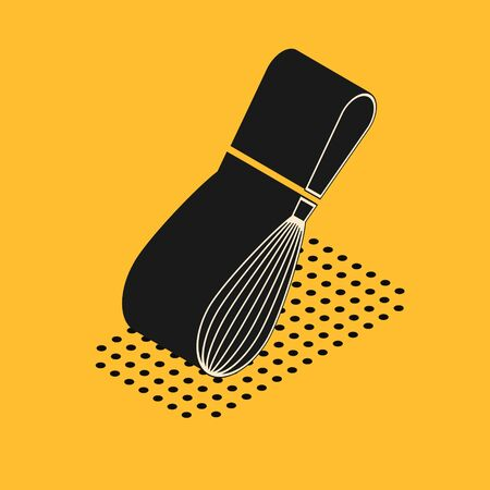 Isometric Kitchen whisk icon isolated on yellow background. Cooking utensil, egg beater. Cutlery sign. Food mix symbol.  Vector Illustration Foto de archivo - 135429485