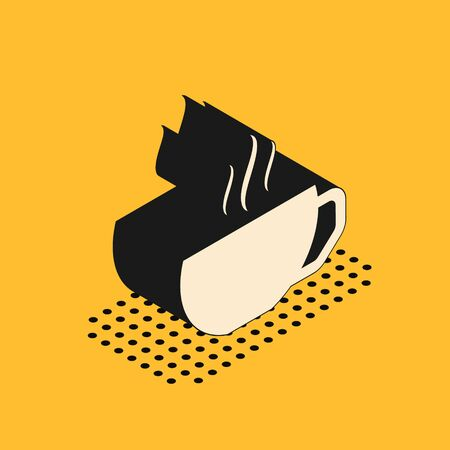 Isometric Coffee cup flat icon isolated on yellow background. Tea cup. Hot drink coffee.  Vector Illustration
