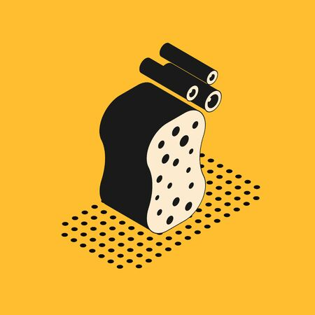 Isometric Sponge with bubbles icon isolated on yellow background. Wisp of bast for washing dishes.