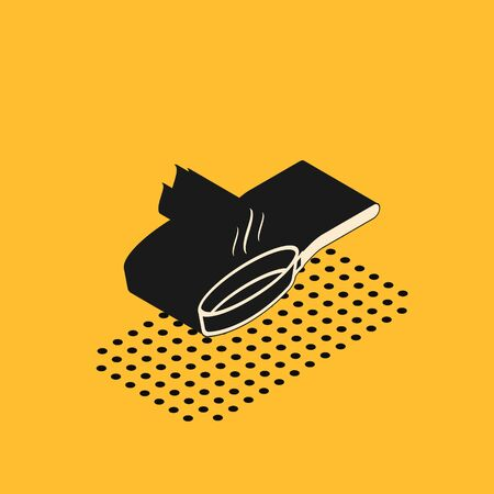 Isometric Frying pan icon isolated on yellow background. Fry or roast food symbol.  Vector Illustration Illustration