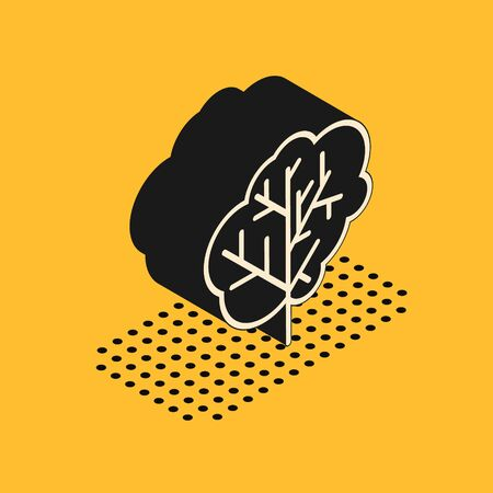Isometric Tree icon isolated on yellow background. Forest symbol.  Vector Illustration Reklamní fotografie - 135444458