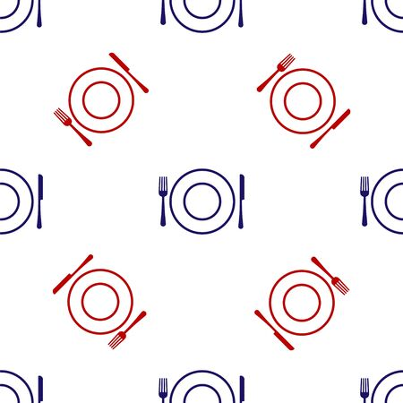 Blue and red Plate, fork and knife icon isolated seamless pattern on white background. Cutlery symbol. Restaurant sign. Vector Illustration