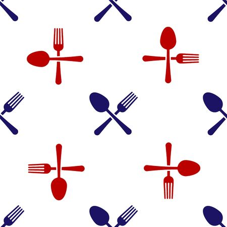 Blue and red Crossed fork and spoon icon isolated seamless pattern on white background. Cooking utensil. Cutlery sign. Vector Illustration