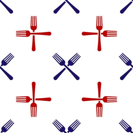 Blue and red Crossed fork icon isolated seamless pattern on white background. Cutlery symbol. Vector Illustration  イラスト・ベクター素材