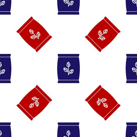 Blue and red Fertilizer bag icon isolated seamless pattern on white background. Vector Illustration