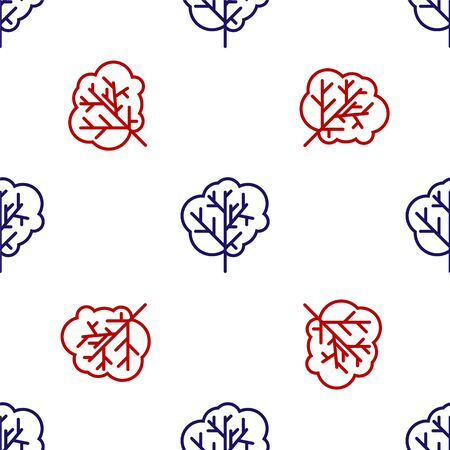 Blue and red Tree icon isolated seamless pattern on white background. Forest symbol. Vector Illustration Reklamní fotografie - 135495580