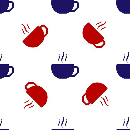 Blue and red Coffee cup flat icon isolated seamless pattern on white background. Tea cup. Hot drink coffee. Vector Illustration