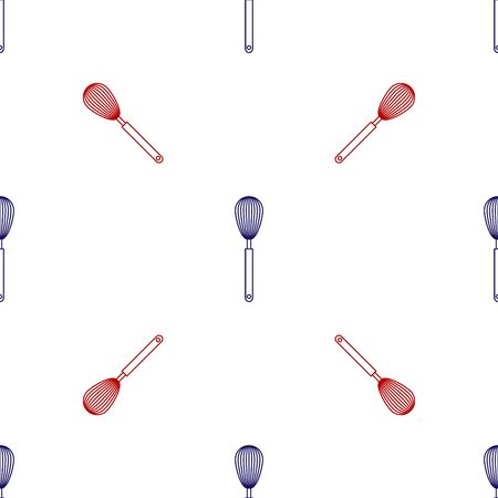 Blue and red Kitchen whisk icon isolated seamless pattern on white background. Cooking utensil, egg beater. Cutlery sign. Food mix symbol. Vector Illustration Vektoros illusztráció