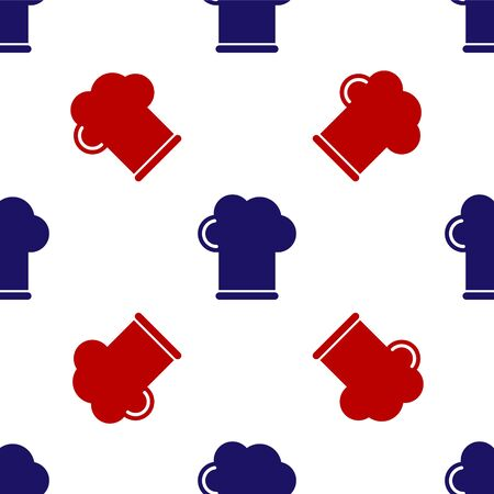 Blue and red Chef hat icon isolated seamless pattern on white background. Cooking symbol. Cooks hat. Vector Illustration