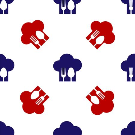 Blue and red Chef hat with fork and spoon icon isolated seamless pattern on white background. Cooking symbol. Restaurant menu. Cooks hat. Vector Illustration