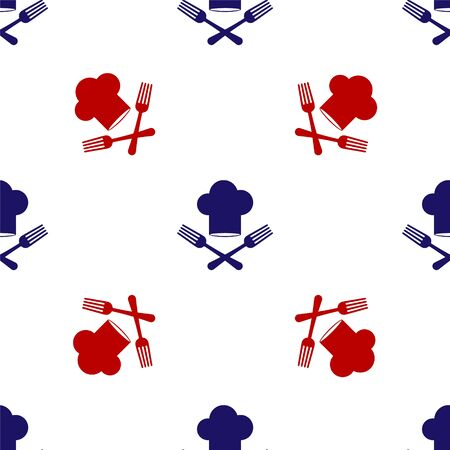 Blue and red Chef hat and crossed fork icon isolated seamless pattern on white background. Cooking symbol. Restaurant menu. Cooks hat. Vector Illustration