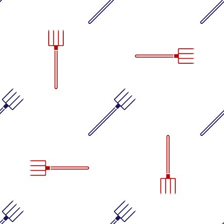Blue and red Garden pitchfork icon isolated seamless pattern on white background. Garden fork sign. Tool for horticulture, agriculture, farming. Vector Illustration