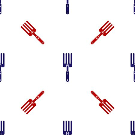 Blue and red Garden fork icon isolated seamless pattern on white background. Pitchfork icon. Tool for horticulture, agriculture, farming. Vector Illustration