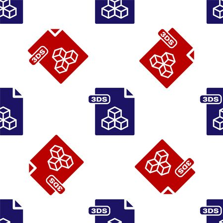Blue and red 3DS file document. Download 3ds button icon isolated seamless pattern on white background. 3DS file symbol. Vector Illustration
