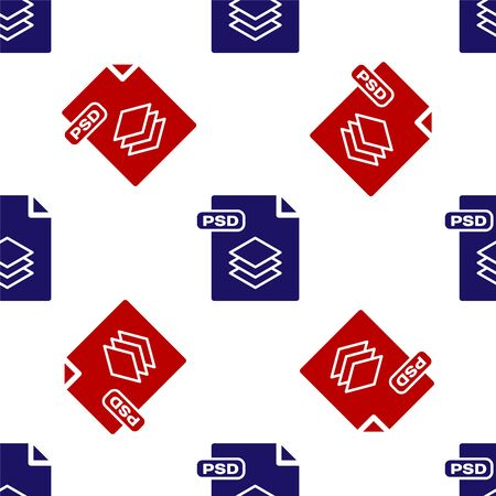 Blue and red PSD file document. Download psd button icon isolated seamless pattern on white background. PSD file symbol. Vector Illustration