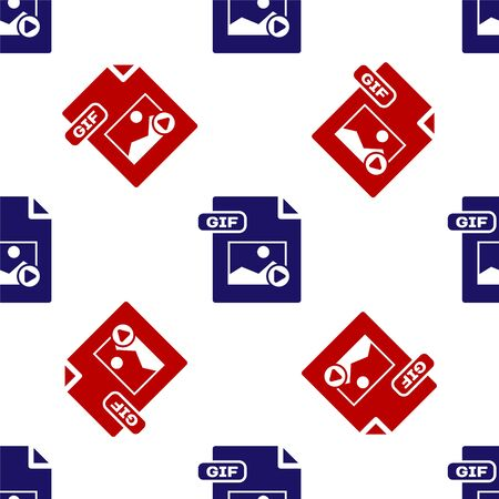 Blue and red GIF file document. Download gif button icon isolated seamless pattern on white background. GIF file symbol. Vector Illustration