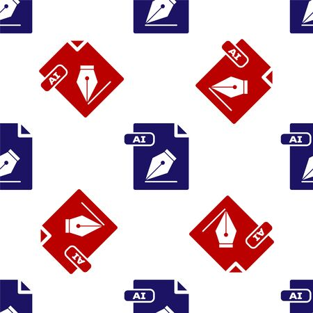 Blue and red AI file document. Download ai button icon isolated seamless pattern on white background. AI file symbol. Vector Illustration Illusztráció