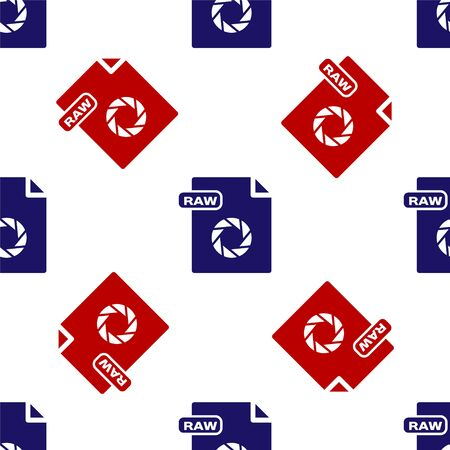 Blue and red RAW file document. Download raw button icon isolated seamless pattern on white background. RAW file symbol. Vector Illustration Illustration